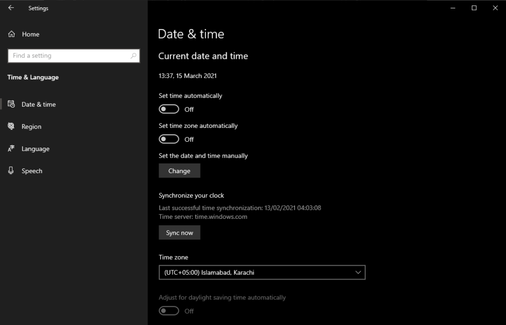 Date and Time in Windows Setting